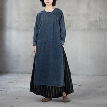 Load image into Gallery viewer, boutique denim blue natural cotton dress  oversize o neck traveling dress vintage side open caftans