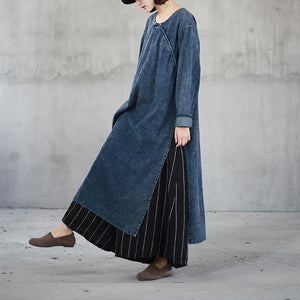 boutique denim blue natural cotton dress  oversize o neck traveling dress vintage side open caftans