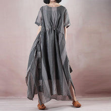 Load image into Gallery viewer, boutique floral long silk linen dresses oversized o neck dotted caftans women Spaghetti Strap elastic waist silk linen caftans