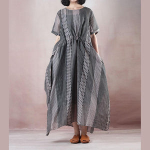 boutique floral long silk linen dresses oversized o neck dotted caftans women Spaghetti Strap elastic waist silk linen caftans