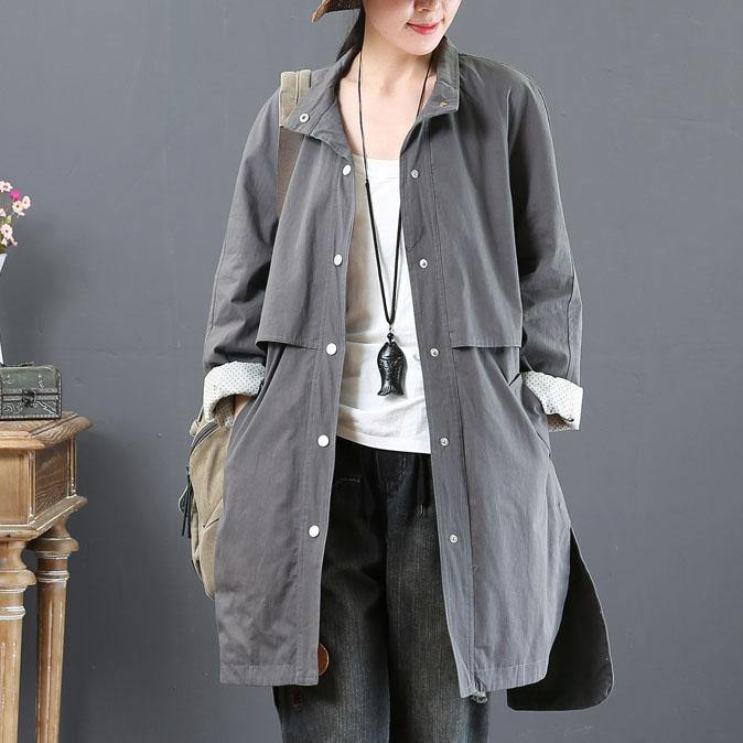 boutique gray outwear plus size winter fall coat pockets stand collar