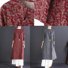 Load image into Gallery viewer, boutique gray print long cotton dress oversize O neck gown boutique long sleeve baggy dresses