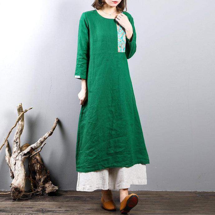boutique green  natural linen dress oversized traveling clothing o neck vintage patchwork cotton dress