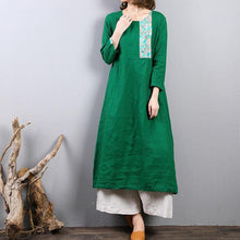 Load image into Gallery viewer, boutique green  natural linen dress oversized traveling clothing o neck vintage patchwork cotton dress