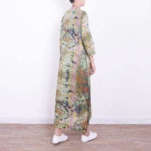 boutique green linen maxi dress Loose fitting v neck traveling dress Fine side open maxi dresses