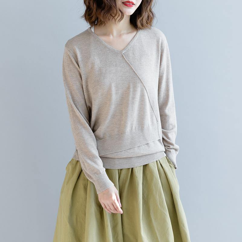 boutique light khaki  sweater oversize v neck knitted tops vintage asymmetric patchwork top