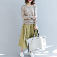 Load image into Gallery viewer, boutique light khaki  sweater oversize v neck knitted tops vintage asymmetric patchwork top