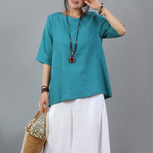 Load image into Gallery viewer, boutique linen blouse plus size Women Cotton Linen Short Sleeve Blue Pullover Tops