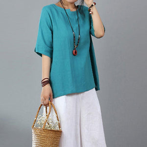 boutique linen blouse plus size Women Cotton Linen Short Sleeve Blue Pullover Tops