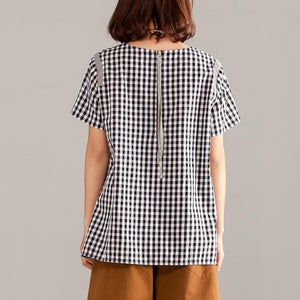 boutique natural cotton t shirt Loose fitting Women Gray Plaid Zipper Short Sleeve Summer Tops