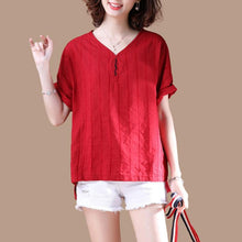 Load image into Gallery viewer, boutique natural linen t shirt Loose fitting V Neck Short Sleeve Stripe Summer Red T Shirt