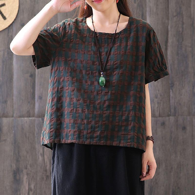 boutique natural linen t shirt plus size clothing Vintage Round Neck Lattice Women Linen Cotton T-shirt