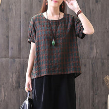 Load image into Gallery viewer, boutique natural linen t shirt plus size clothing Vintage Round Neck Lattice Women Linen Cotton T-shirt