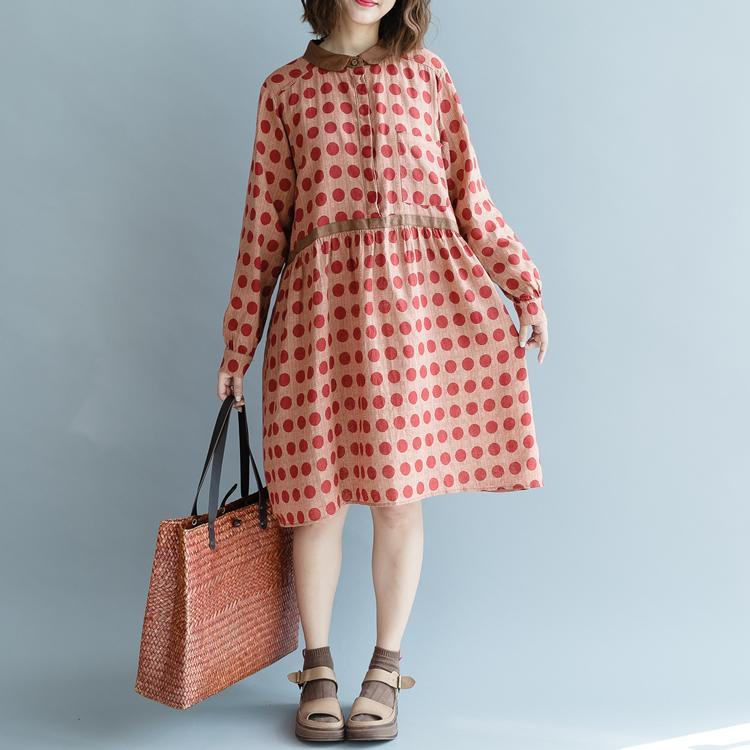 boutique pink dotted cotton linen shift dress plus size long sleeve pockets women Peter pan Collar baggy dresses cotton