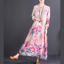 Load image into Gallery viewer, boutique pink print long cotton dresses trendy plus size O neck baggy dresses traveling clothing boutique long sleeve pockets dresses
