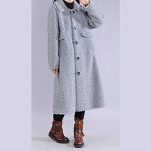 Load image into Gallery viewer, boutique plus size Winter coat jackets blue lapel Button Woolen Coat Women