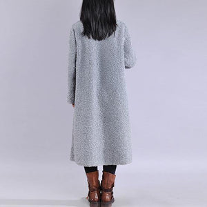 boutique plus size Winter coat jackets blue lapel Button Woolen Coat Women