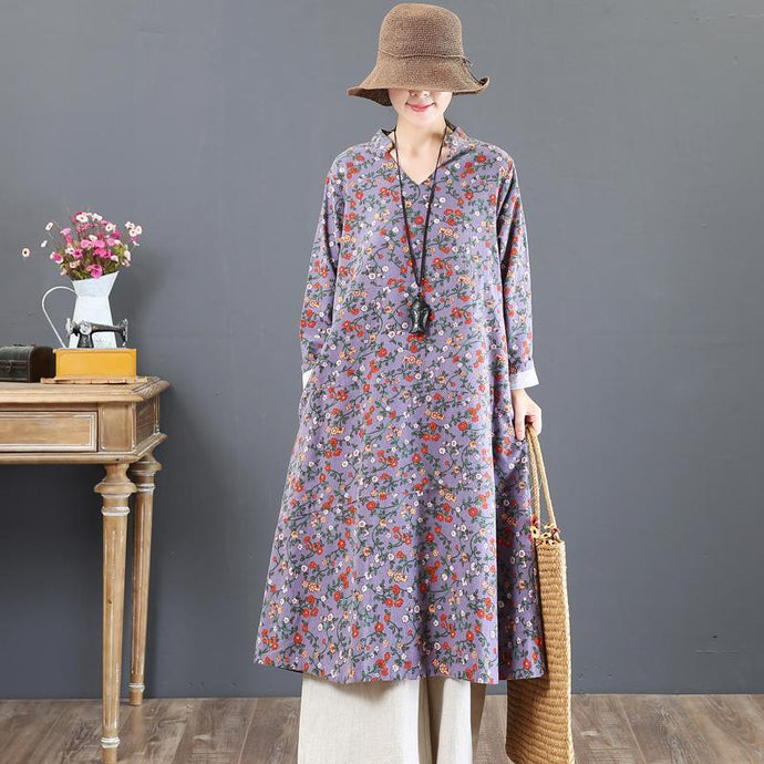 boutique purple prints cotton maxi dress oversized stand collar cotton clothing dress New loose waist autumn dress