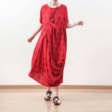 Laden Sie das Bild in den Galerie-Viewer, boutique red dotted natural linen dress oversized draping traveling clothing casual o neck maxi dresses