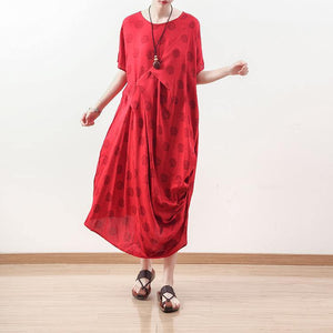 boutique red dotted natural linen dress oversized draping traveling clothing casual o neck maxi dresses