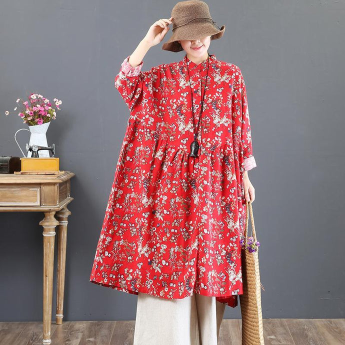boutique red fall dress trendy plus size prints cotton clothing dress top quality stand collar cotton caftans
