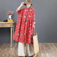 Load image into Gallery viewer, boutique red fall dress trendy plus size prints cotton clothing dress top quality stand collar cotton caftans