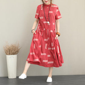 boutique red natural cotton blended dress plus size Stand exra large hem caftans Elegant short sleeve tie waist caftans