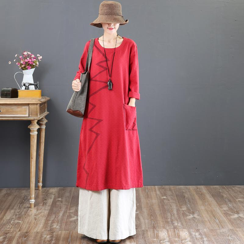 boutique red prints fall dress plus size clothing o neck traveling dress Elegant big pockets maxi dresses