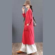 Load image into Gallery viewer, boutique red prints fall dress plus size clothing o neck traveling dress Elegant big pockets maxi dresses