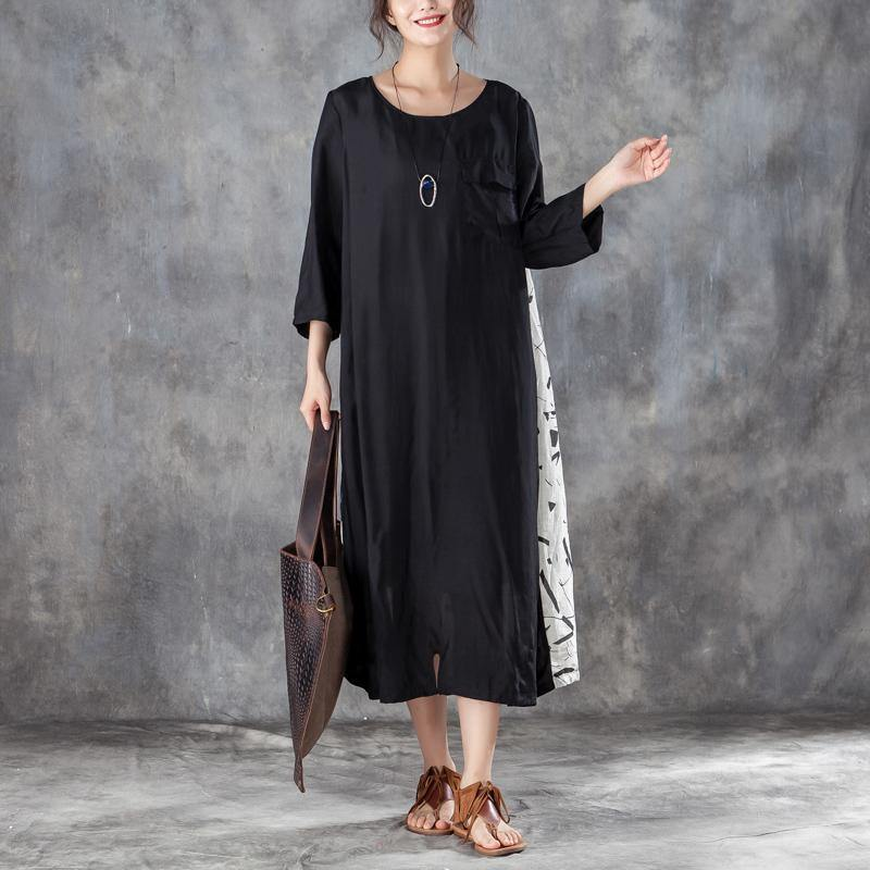 boutique silk linen sundress plus size Women Loose Stylish Dress Casual with Pocket