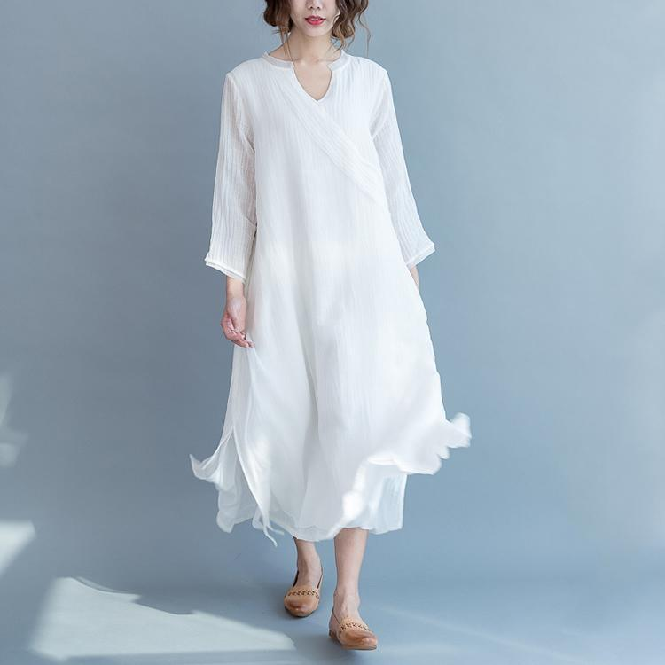 boutique white cotton linen dress trendy plus size Stand tie waist traveling dress Three Quarter sleeve patchwork maxi dresses