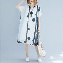 Load image into Gallery viewer, boutique white dotted cotton blended dresses oversized baggy dresses pockets traveling clothing vintage short sleeve dresses