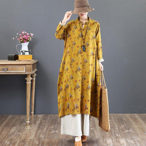 boutique yellow prints long cotton dresses oversized stand collar cotton clothing dress Elegant Chinese Button gown