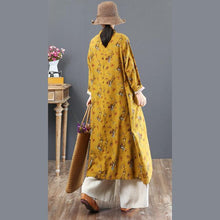 Load image into Gallery viewer, boutique yellow prints long cotton dresses oversized stand collar cotton clothing dress Elegant Chinese Button gown