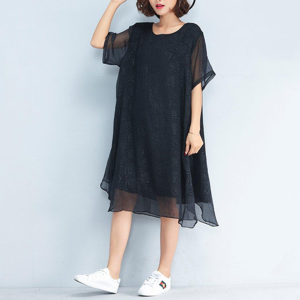 boutique black floral natural chiffon dress  trendy plus size shirt dress Fine o neck short sleeve knee dresses