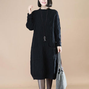 boutique black knit dress Loose fitting sweater Elegant sweater