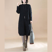Load image into Gallery viewer, boutique black knit dress Loose fitting sweater Elegant sweater