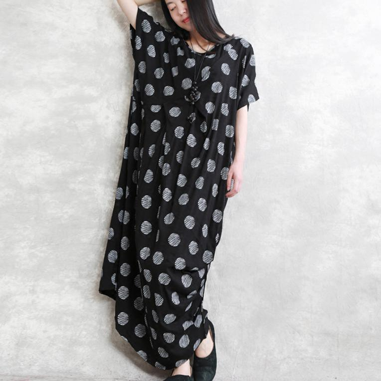 Boutique Black Linen Dress Loose Fitting Dotted Linen Maxi Dress 2021 Asymmetric Linen Caftans