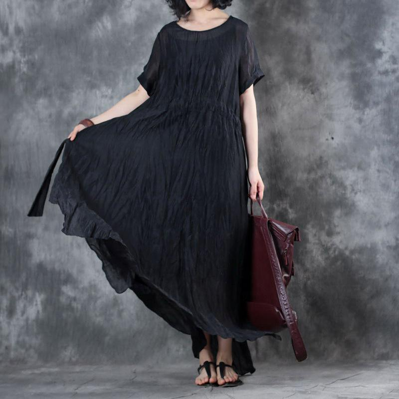 boutique black long linen dresses oversize side open linen clothing dresses New short sleeve maxi dresses