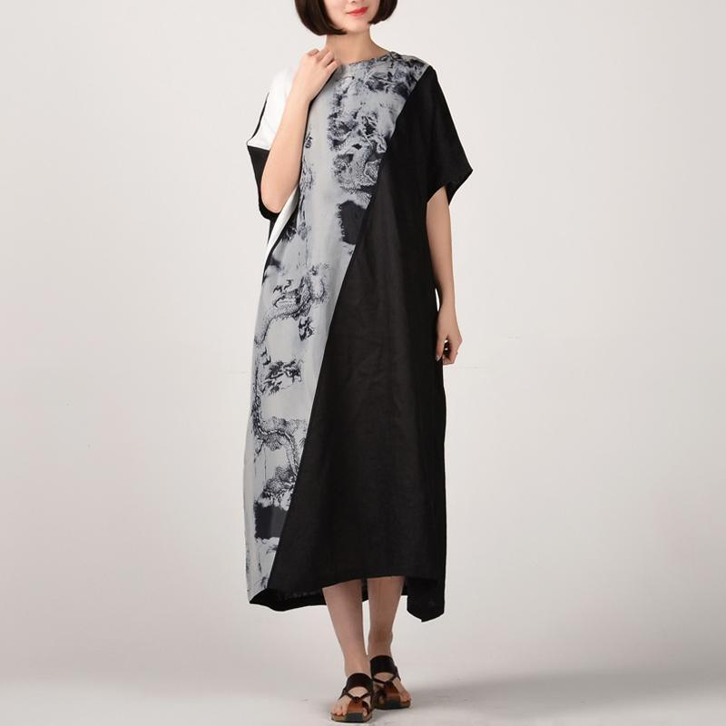 boutique black natural linen dress  plus size patchwork linen clothing dresses casual batwing sleeve kaftans