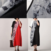 Load image into Gallery viewer, boutique black natural linen dress  plus size patchwork linen clothing dresses casual batwing sleeve kaftans