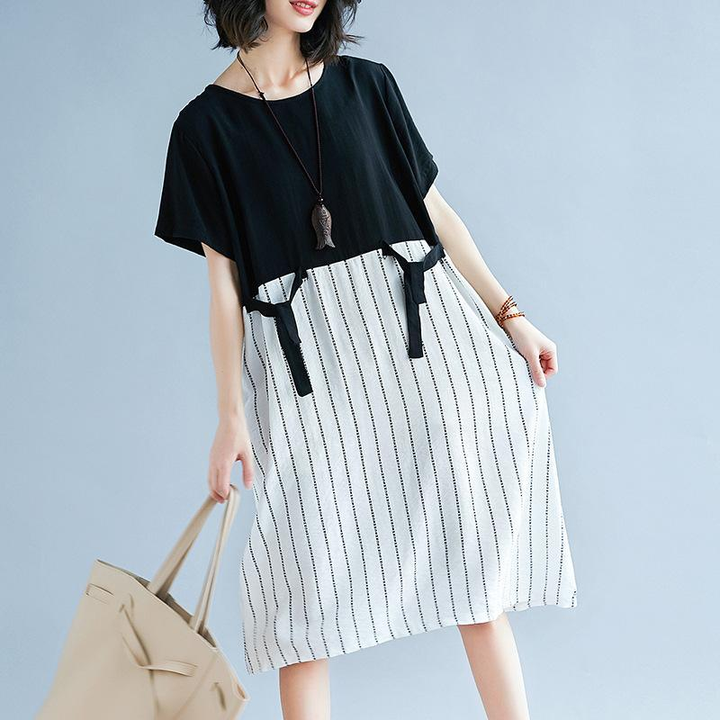 boutique black patchwork white cotton maxi dress trendy plus size striped  maxi dress Elegant short sleeve gown