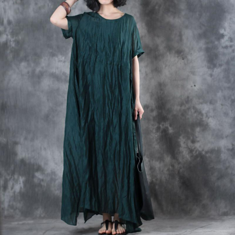 boutique blackish green linen maxi dress plus size clothing side open silk gown 2018 short sleeve caftans