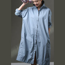 Load image into Gallery viewer, Boutique Blue Cotton Dress Plus Size Clothing Shirt Dress Big Pockets Long Sleeve Cotton Dresses