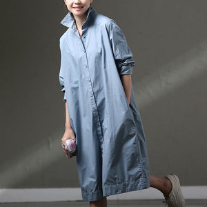 Boutique Blue Cotton Dress Plus Size Clothing Shirt Dress Big Pockets Long Sleeve Cotton Dresses