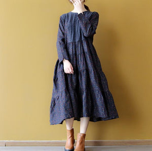 boutique blue linen dress casual floral cotton dress New patchwork linen dress