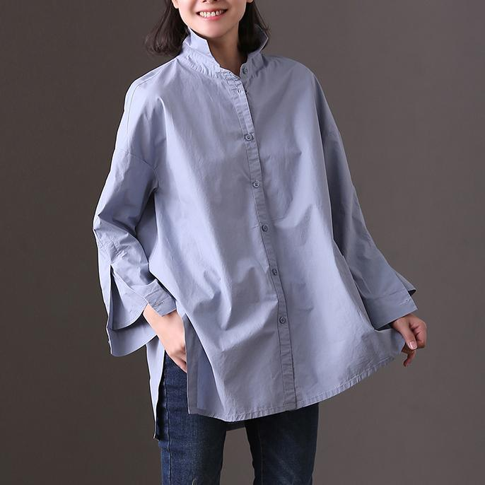 Boutique blue pure cotton shirt oversize casual blouse New side open asymmetric pockets cotton top