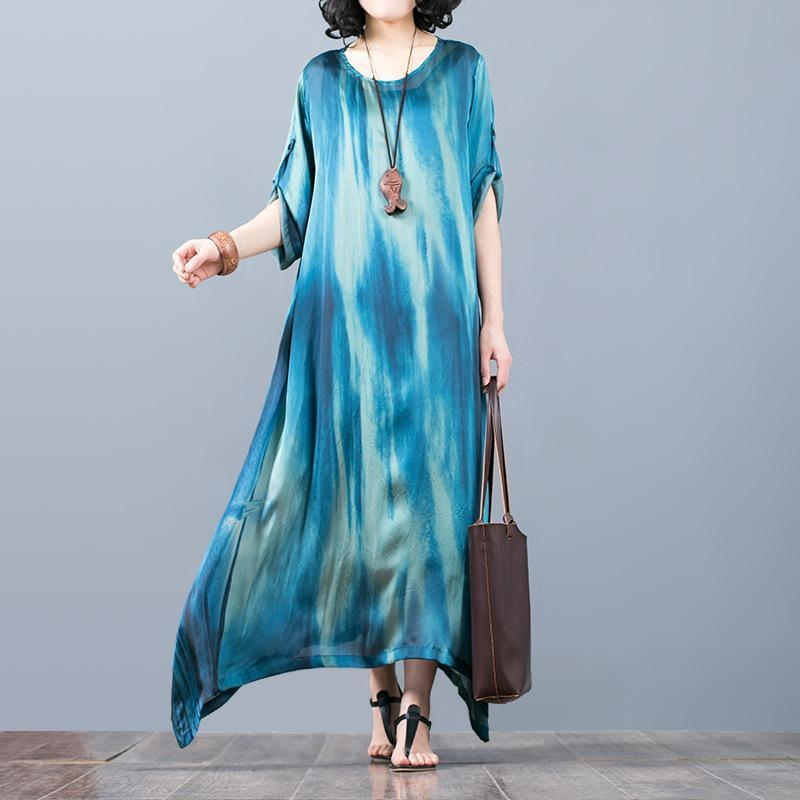 boutique blue  silk maxi dress trendy plus size asymmetric silk clothing dresses Fine o neck maxi dresses