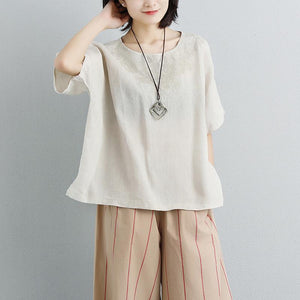 boutique cotton blouses Loose fitting Embroidery Round Neck Short Sleeve Beige Tops