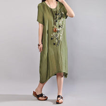 Load image into Gallery viewer, boutique cotton sundress plus size Embroidery Summer Casual Short Sleeve Green Dress